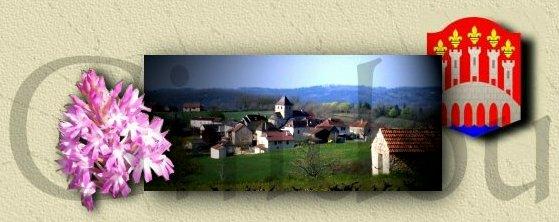 Le bourg Gindou entouré du orchidée du Quercy et du blason du Lot