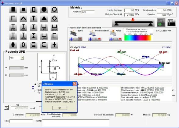 Interface graphique du logiciel de résistance des matériaux avec repésentation du moment de flexion, effort tranchant et réactions
